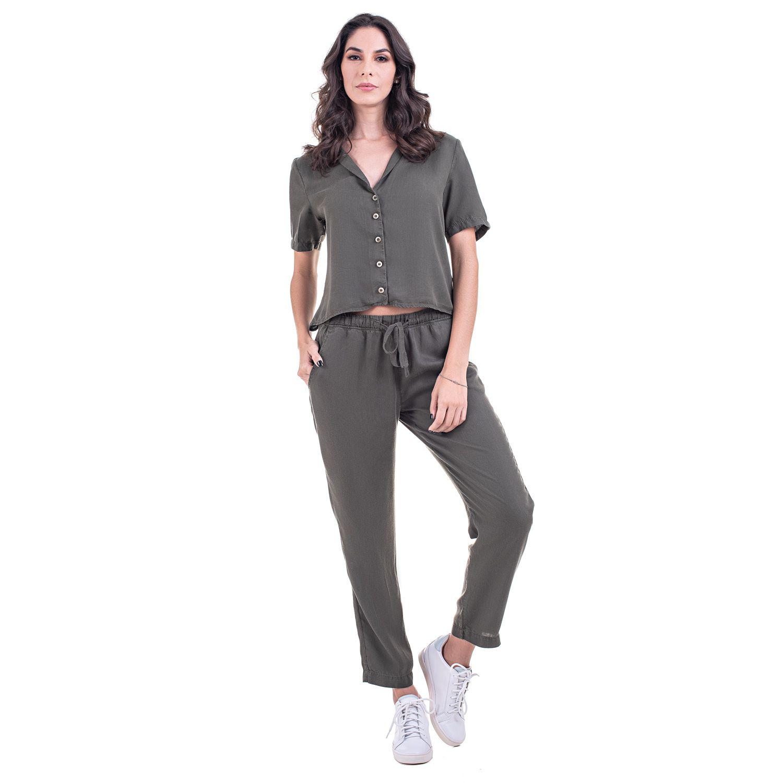 Calça Jogger Jeans Leve Cor Verde Musgo