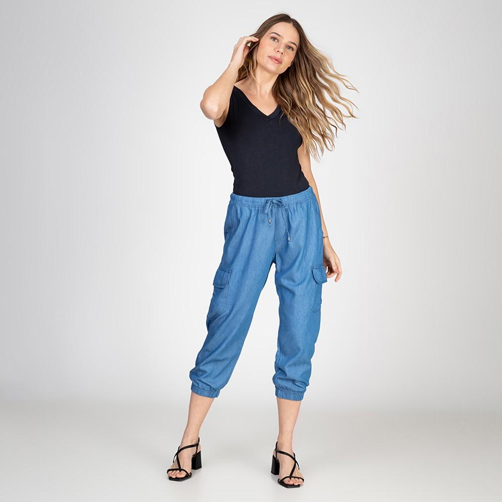 Calça Jogger Jeans Leve Cropped Cargo