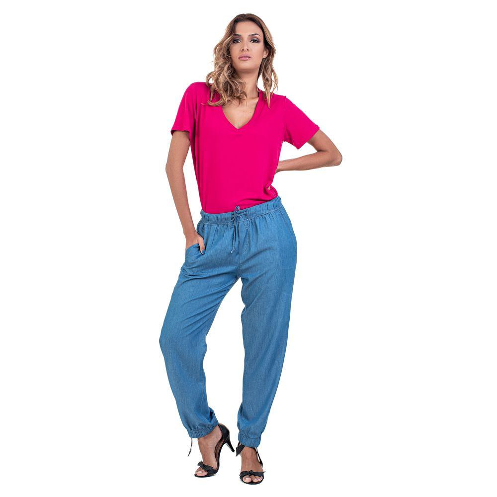 Calça Jogger Jeans Leve Elástico Barra