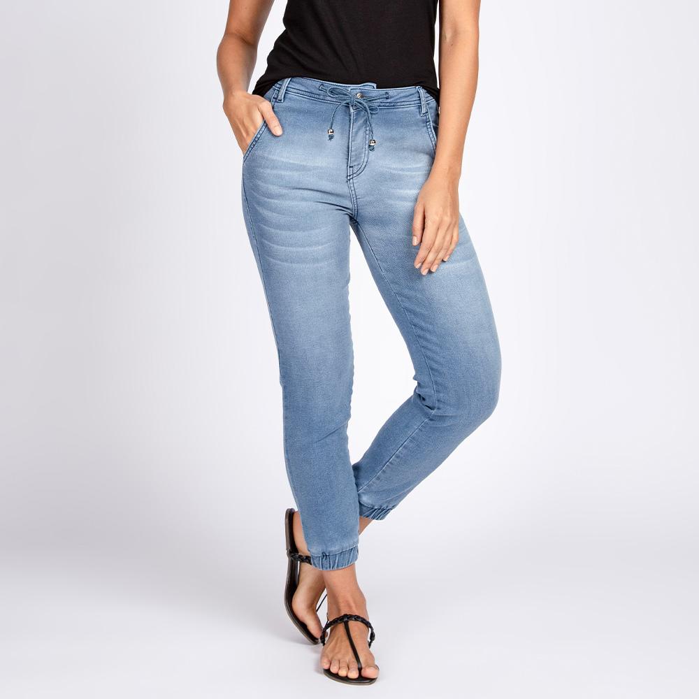 Calça Jogger Jeans Moletom Elástico Barra Azul Claro