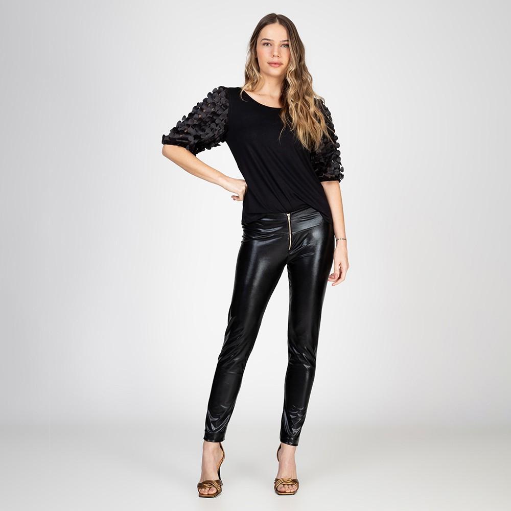 Calça Legging Com Zíper Aparente Sem Costura Lateral Preta