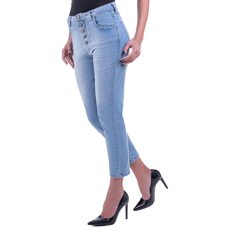 Calça Mom Jeans Claro Botões