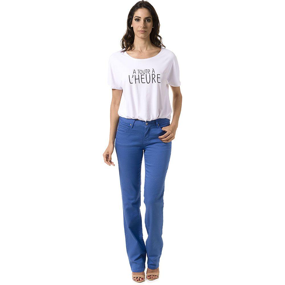 Calça Reta Judy Color Azul Fendi