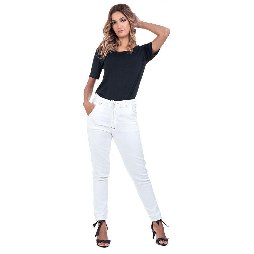 Calça Jogger  Jeans tipo Moletom Cor Branca