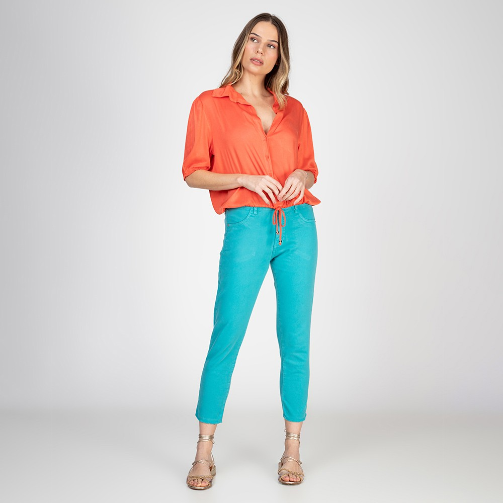 Calça Jeans tipo Moletom Skinny Lady Cor Neomint