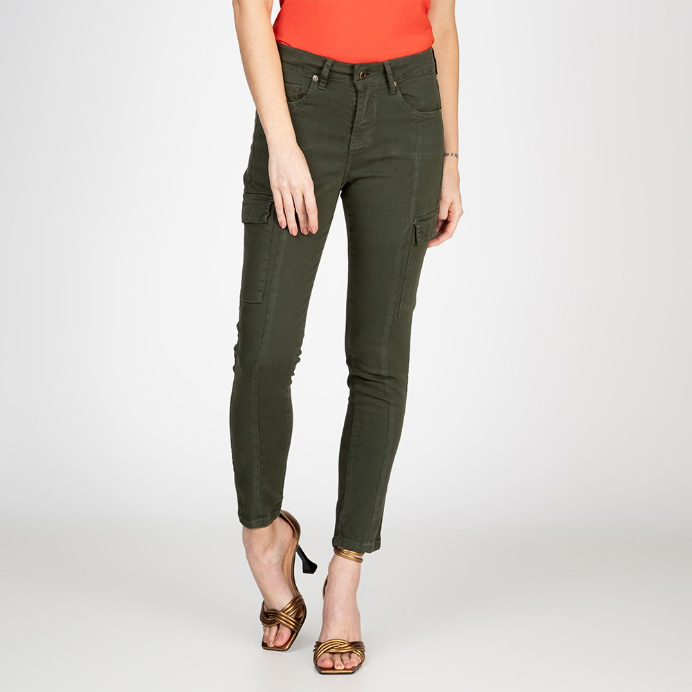 Calça Jeans Skinny Cargo Cor Verde Oliva