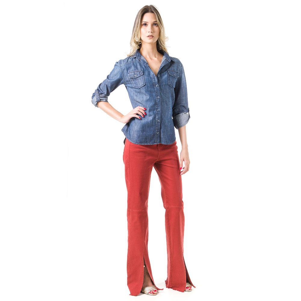 Camisa Jeans Bloom Ajustada Azul