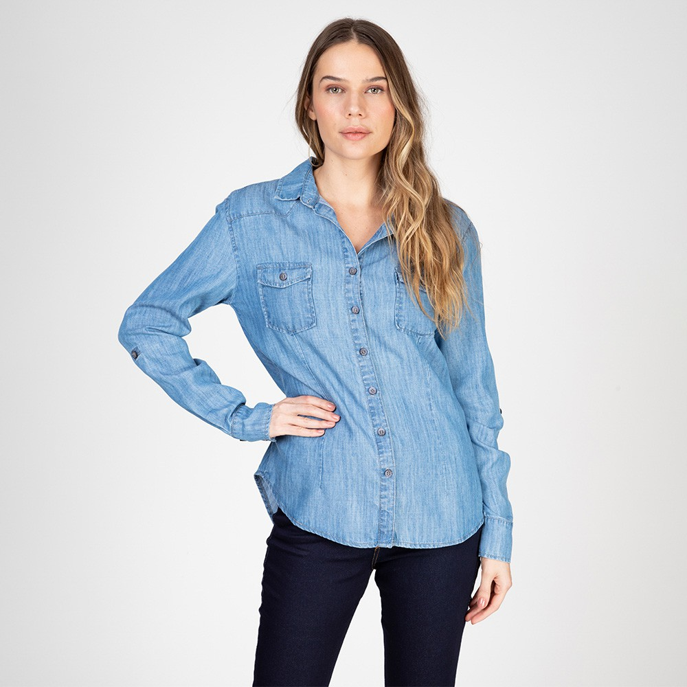Camisa Jeans Leve Manga Longa Azul Médio