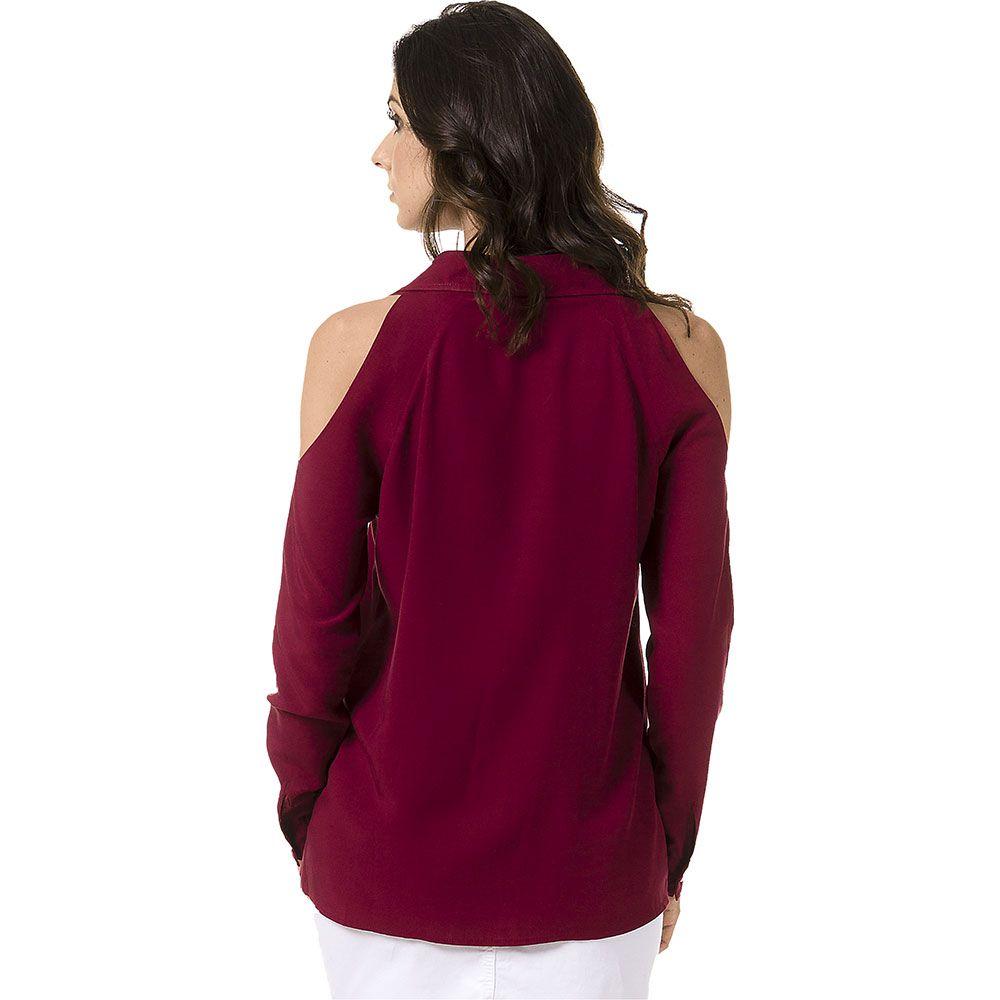 Camisa Lisa com Ombros Vazados Bordô