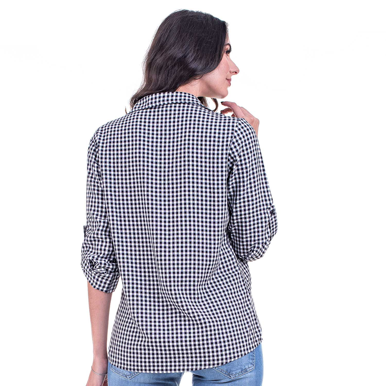 Camisa Manga Longa Bloom Viscose Xadrez