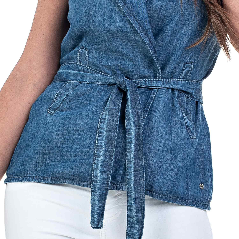 Colete Jeans Bloom Transpassado com Cinto