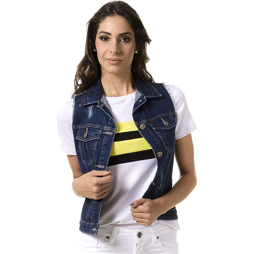 Colete Jeans Destroyed