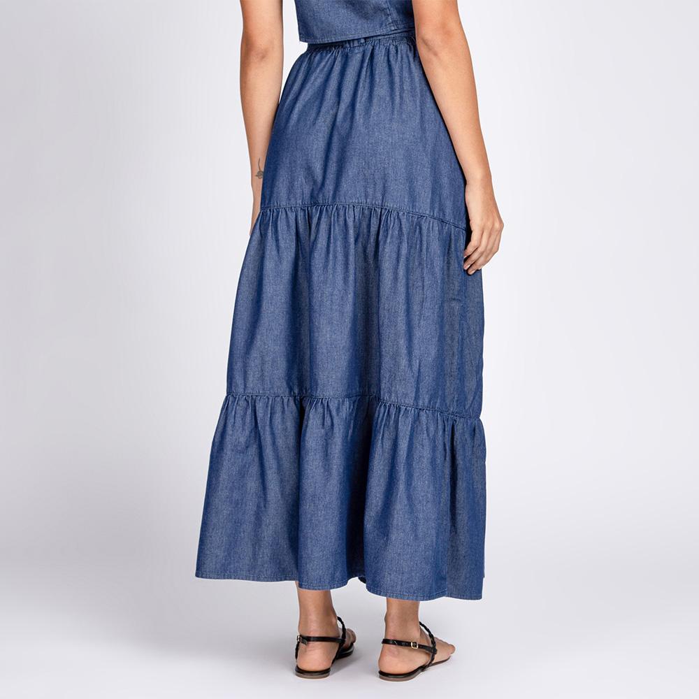 Conjunto Top Jeans e Saia Jeans 3 Marias Azul Escuro