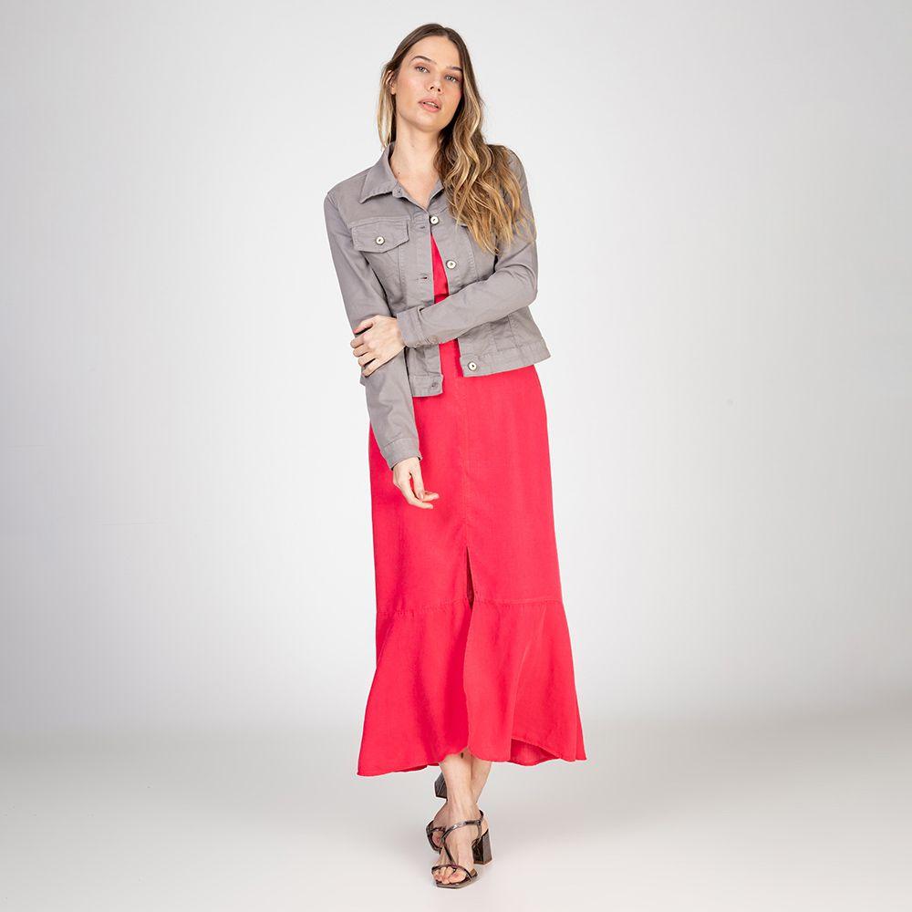 Jaqueta Jeans tipo Moletom Cor Granito
