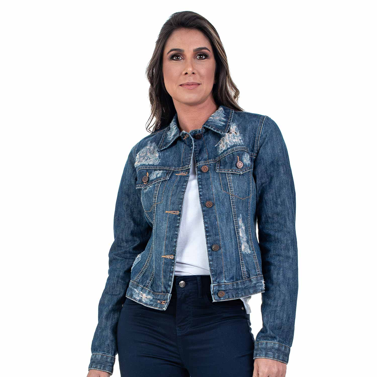 Jaqueta Jeans Bloom Destroyed Avesso Estampado