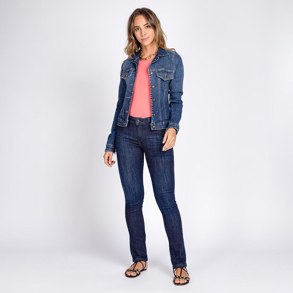 Jaqueta Jeans tipo Moletom Celyna Clássica Azul Médio