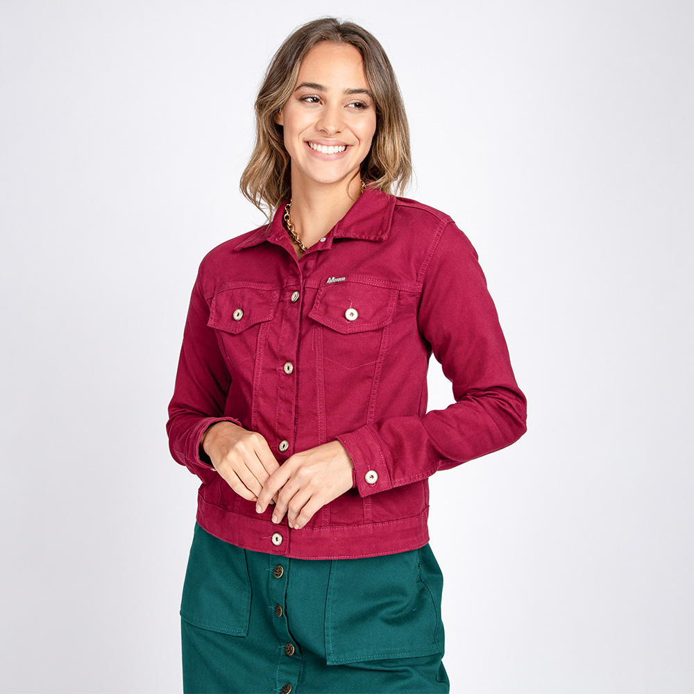 Jaqueta Jeans Leny Clássica Cor Magenta