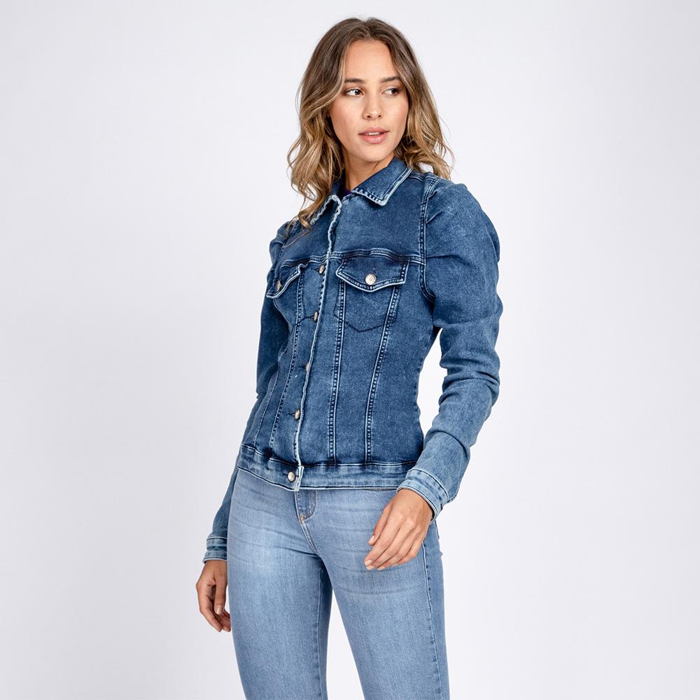 Jaqueta Jeans Moletom Manga Bufante