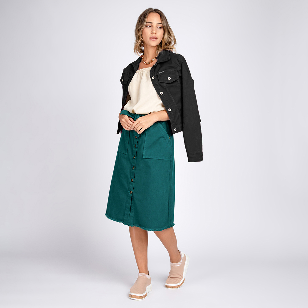Jaqueta Jeans tipo Moletom Bloom Classica Preto