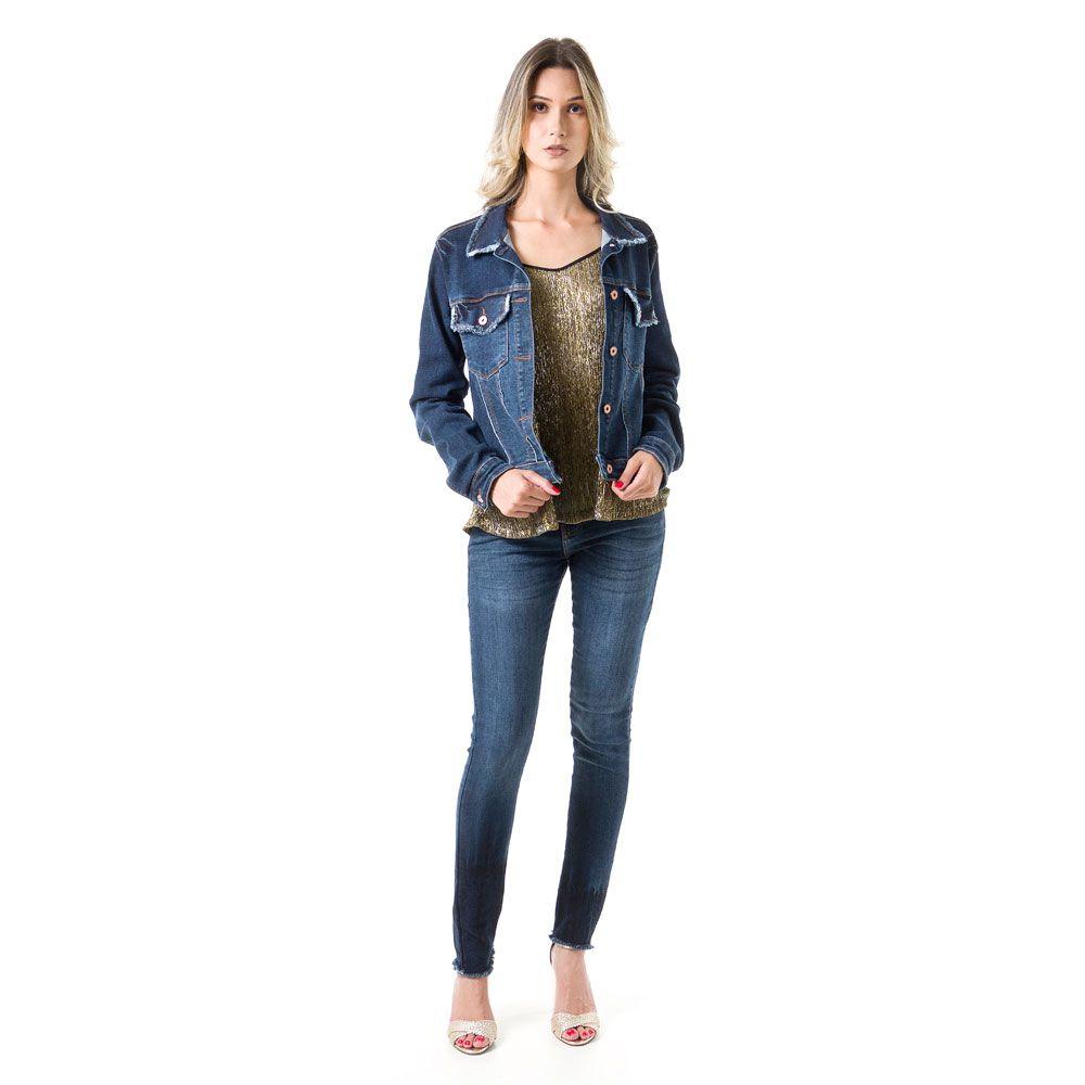 Jaqueta Malha Jeans Bloom Desfiada Azul