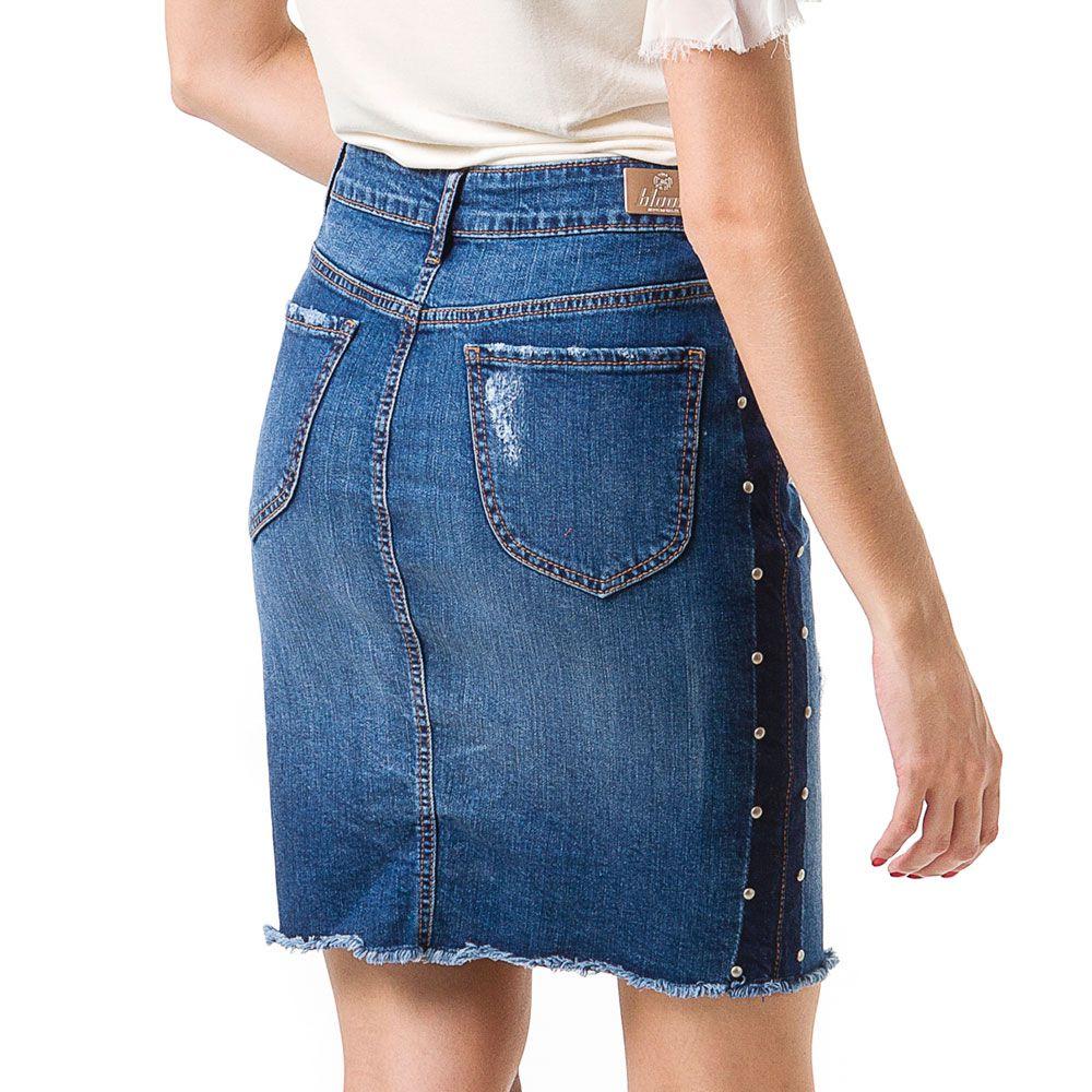 Saia Jeans Bloom Lápis Azul
