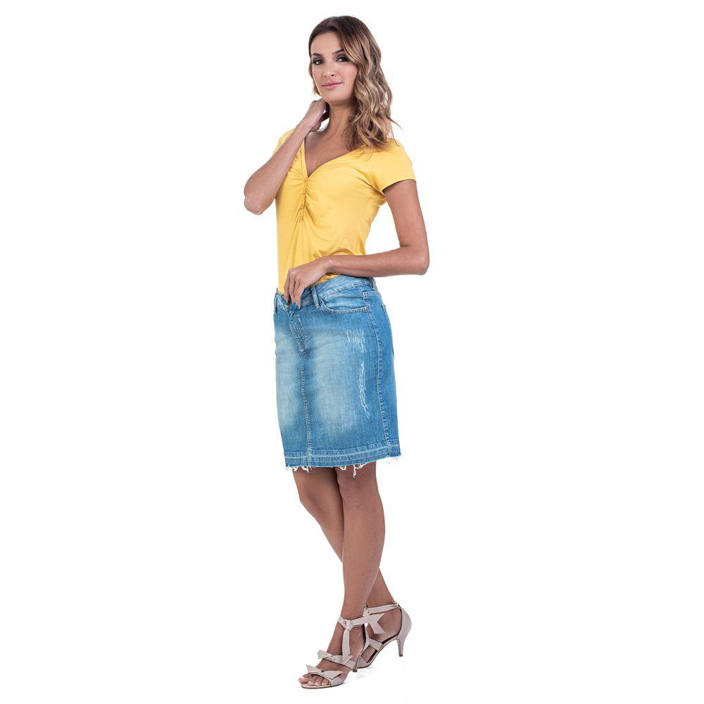 Saia Jeans Média Barra Desfiada