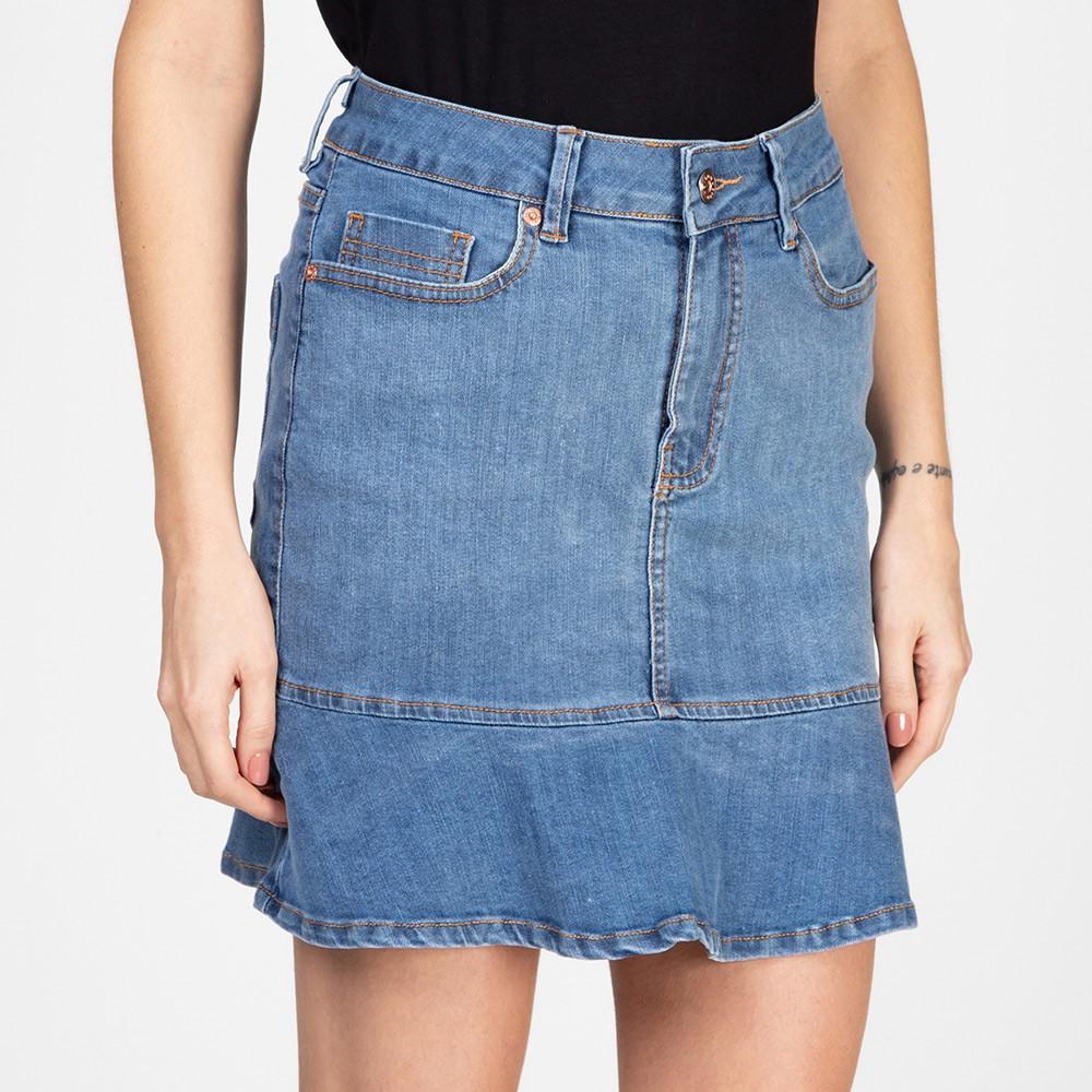 Saia Jeans Média Com Babado Azul