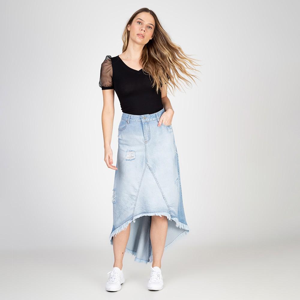 Saia Jeans Midi Assimétrica Destroyed