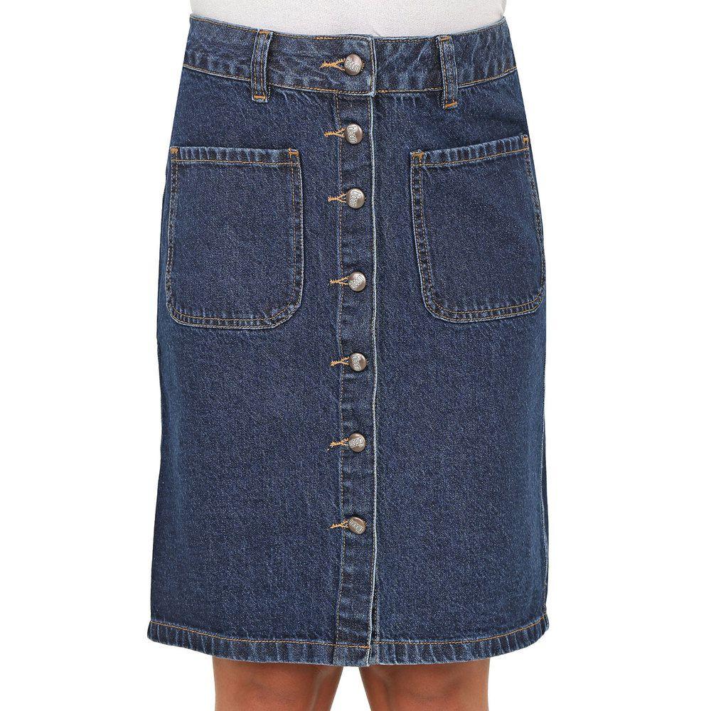 Saia Lapis Jeans com Botões
