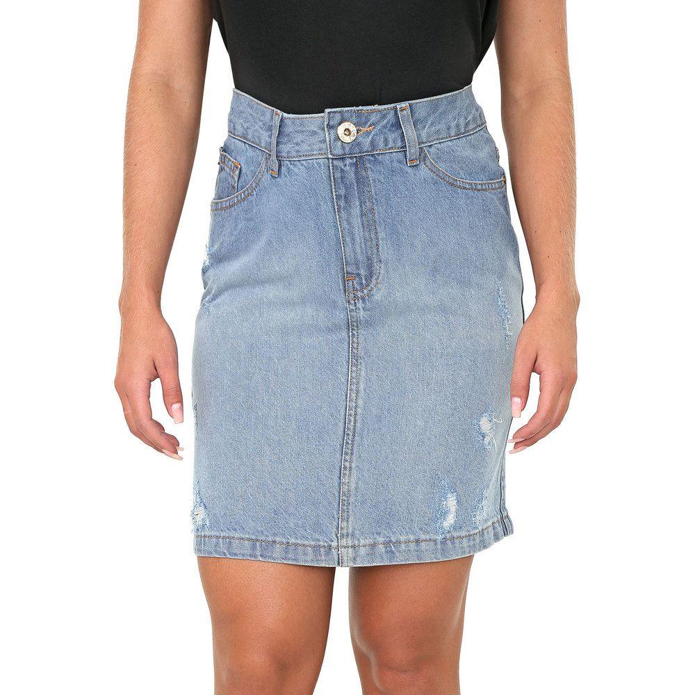 Saia Lapis Jeans Destroyed