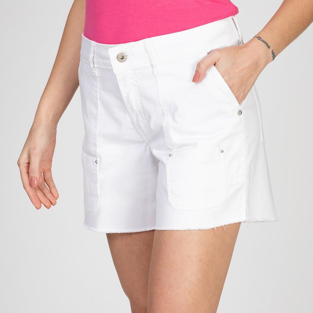Shorts Color Cargo Barra Desfiada Branco