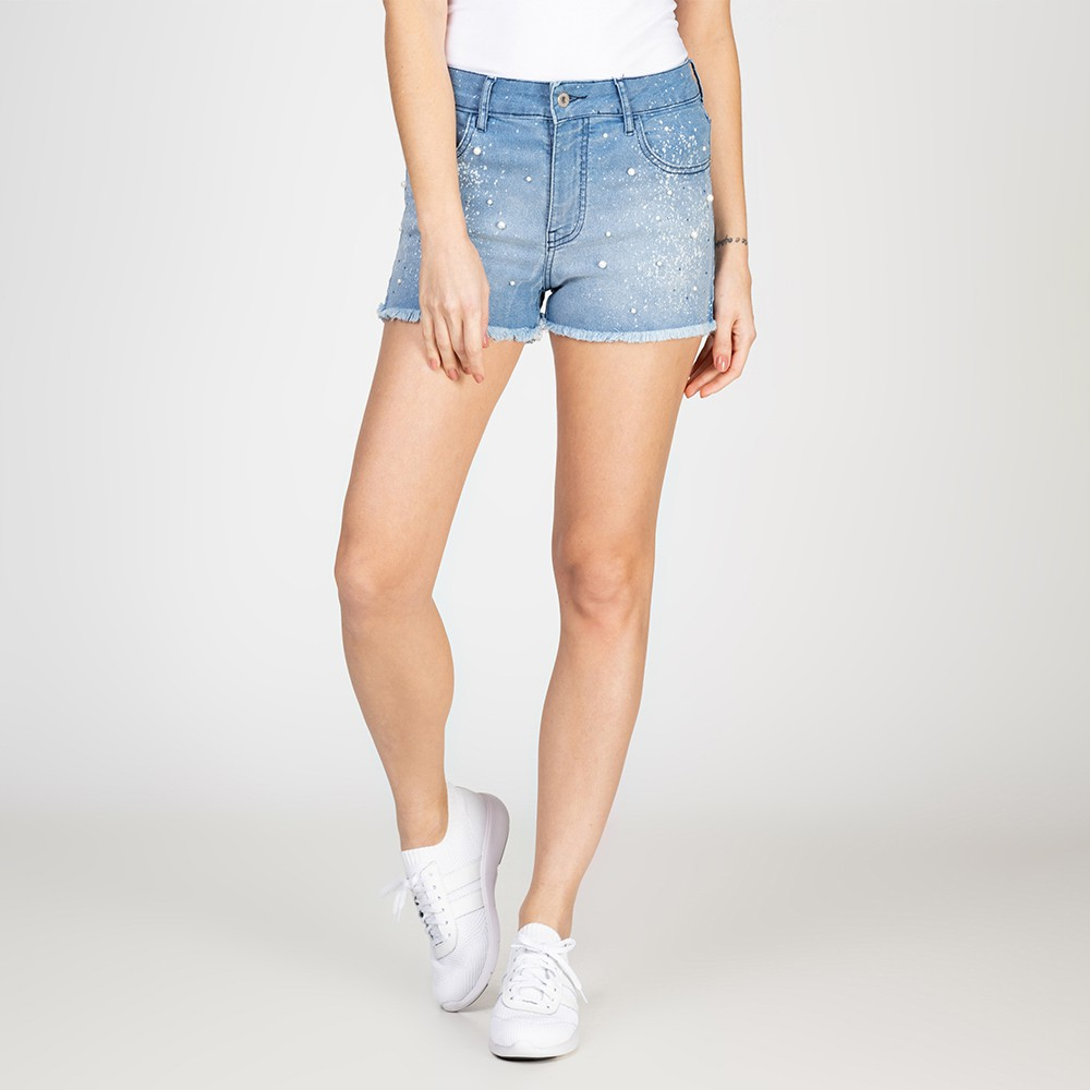 Shorts Jeans Bordado Pérola Delavê