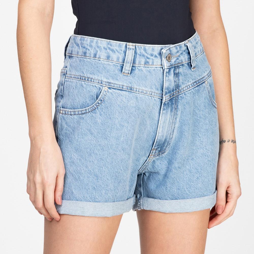 Shorts Jeans Recortes Frontais Delavê