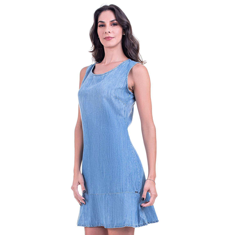 Vestido Bloom Jeans Leve com Babados