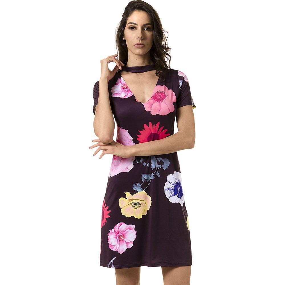 Vestido Curto Estampado Preto Floral