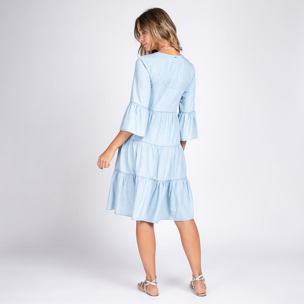 Vestido Jeans 3 Marias Manga Sino Cor Azul Claro