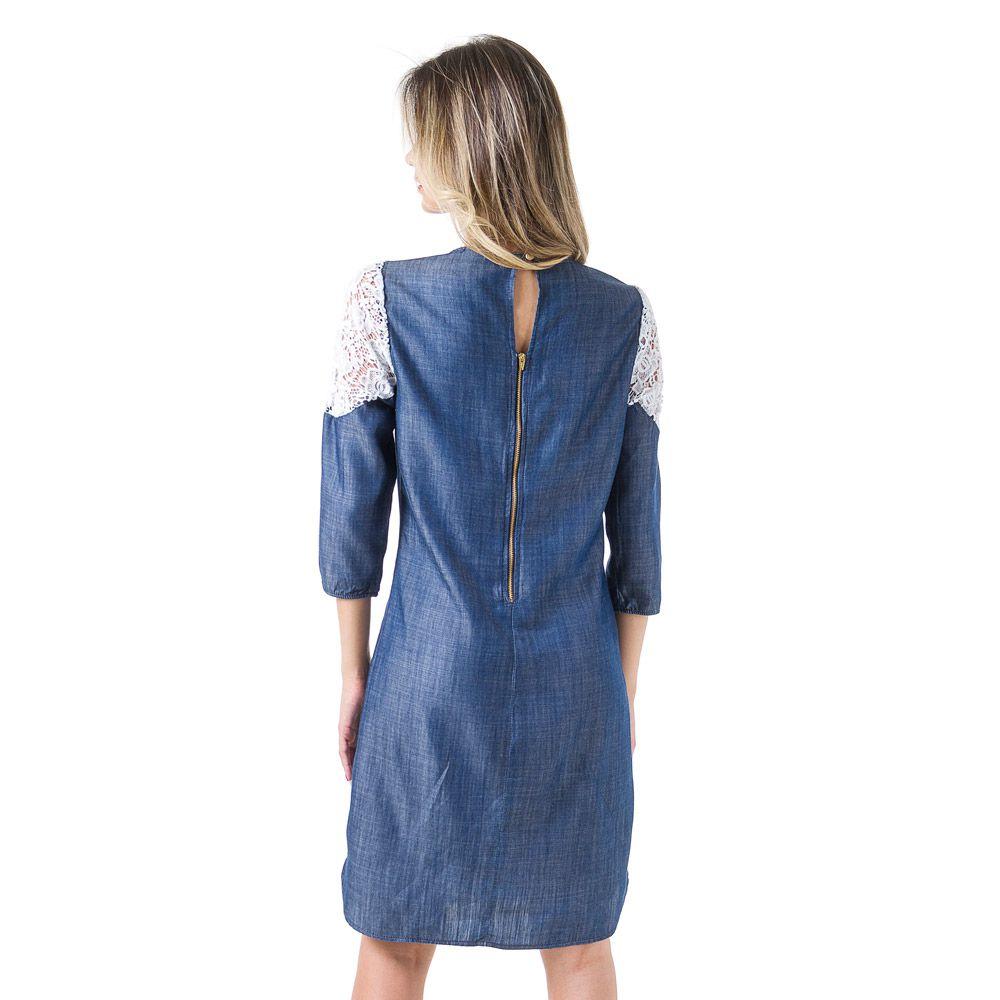 Vestido Jeans Bloom Com Renda Azul