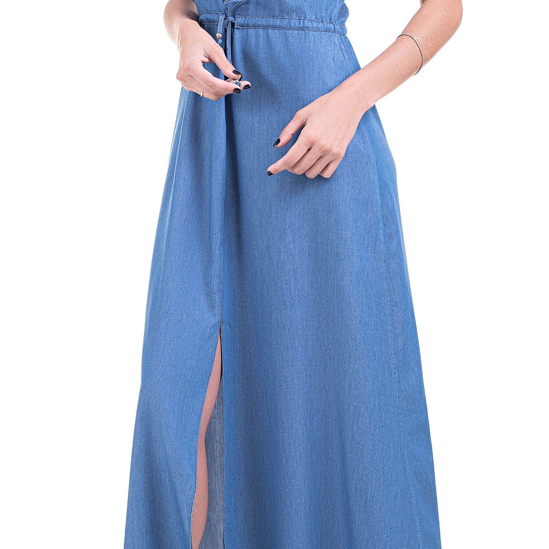 Vestido Jeans Leve Alça e Fenda