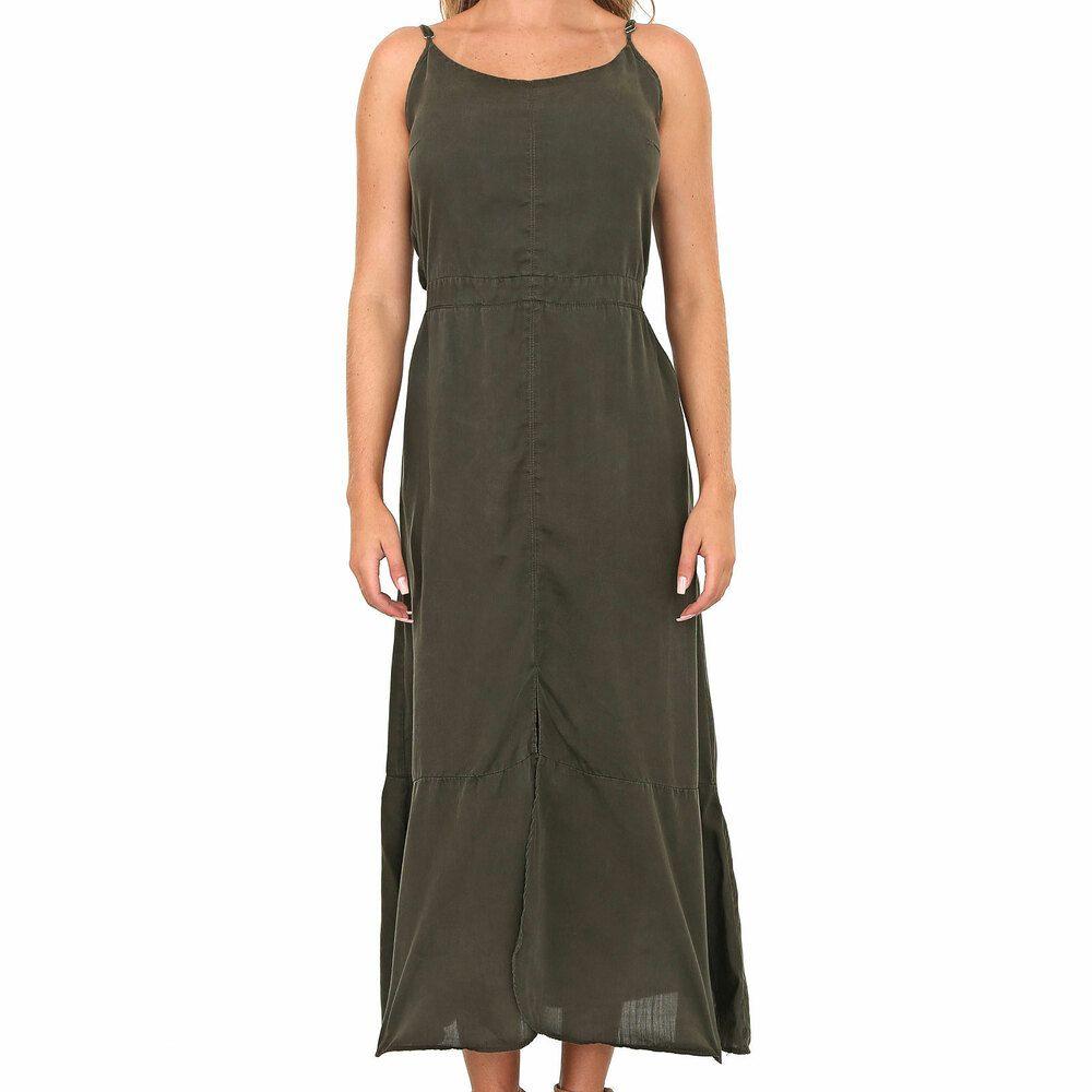 Vestido Laise com Amarração Costas Verde Musgo