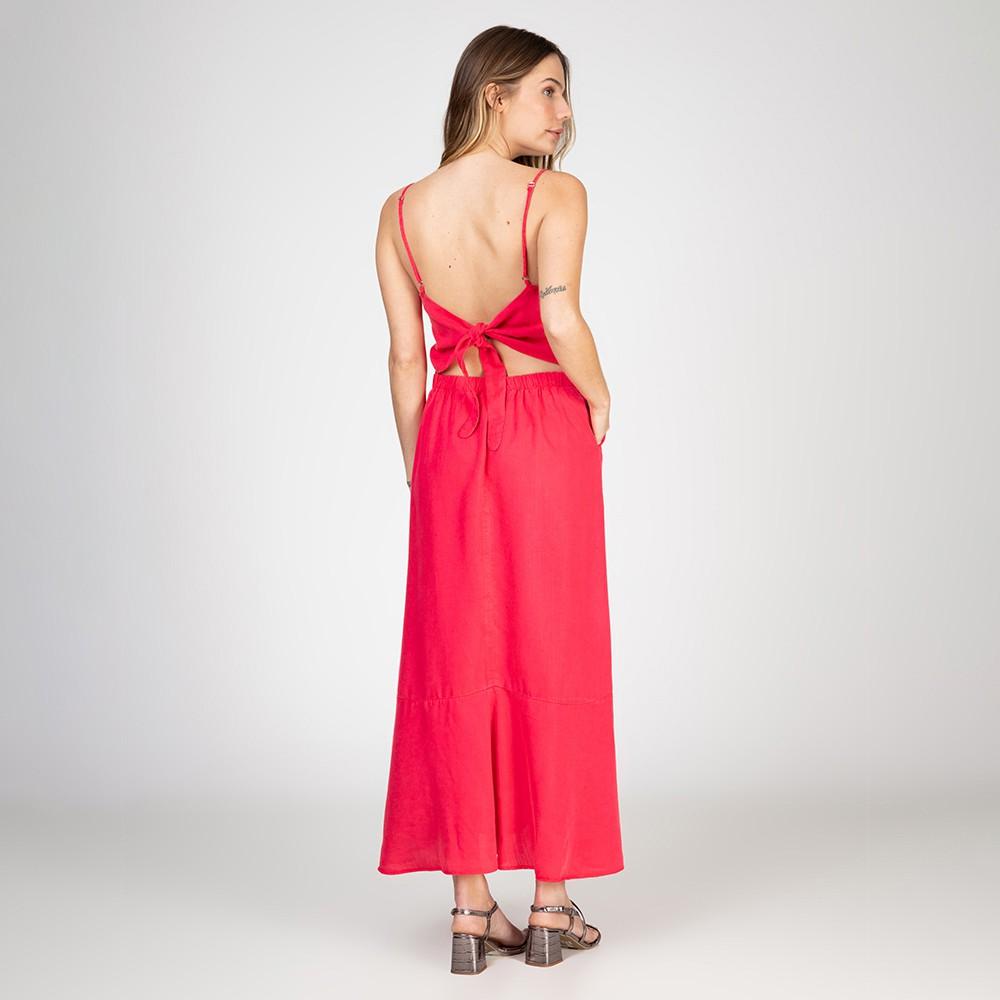 Vestido Midi Color Com Fenda Cor Pimenta