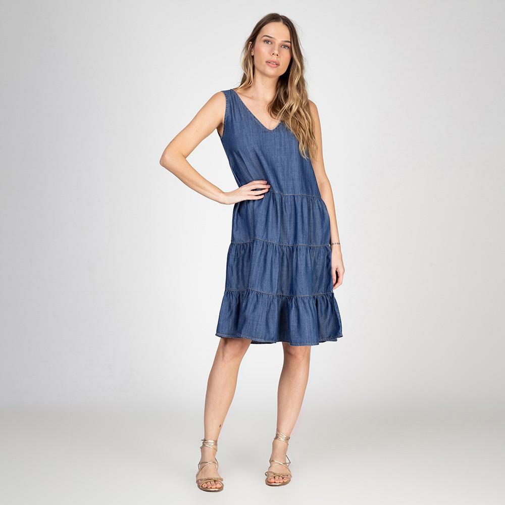 Vestido Regata Jeans Leve 3 Marias Azul Médio