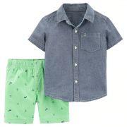 Conjunto Camisa jeans e Short Marinheiro Carters
