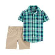 Conjunto short e camisa Xadrez Verde