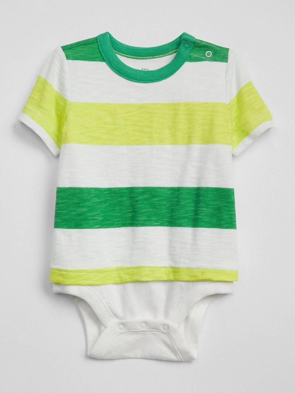 Romper Body Camiseta GAP Verde e Amarelo