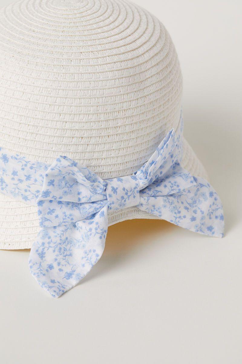 Chapéu de Palha Laço Azul H&M