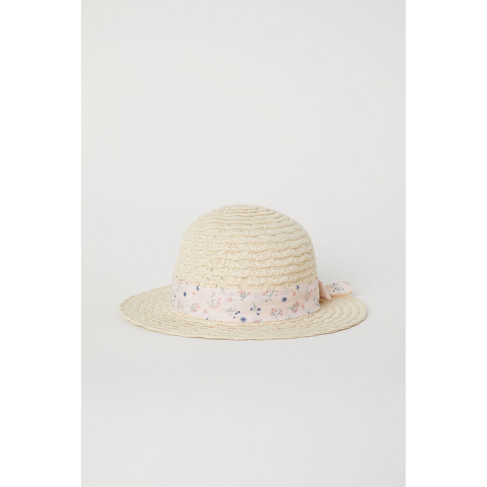 Chapéu de Palha Laço Rosa florido H&M