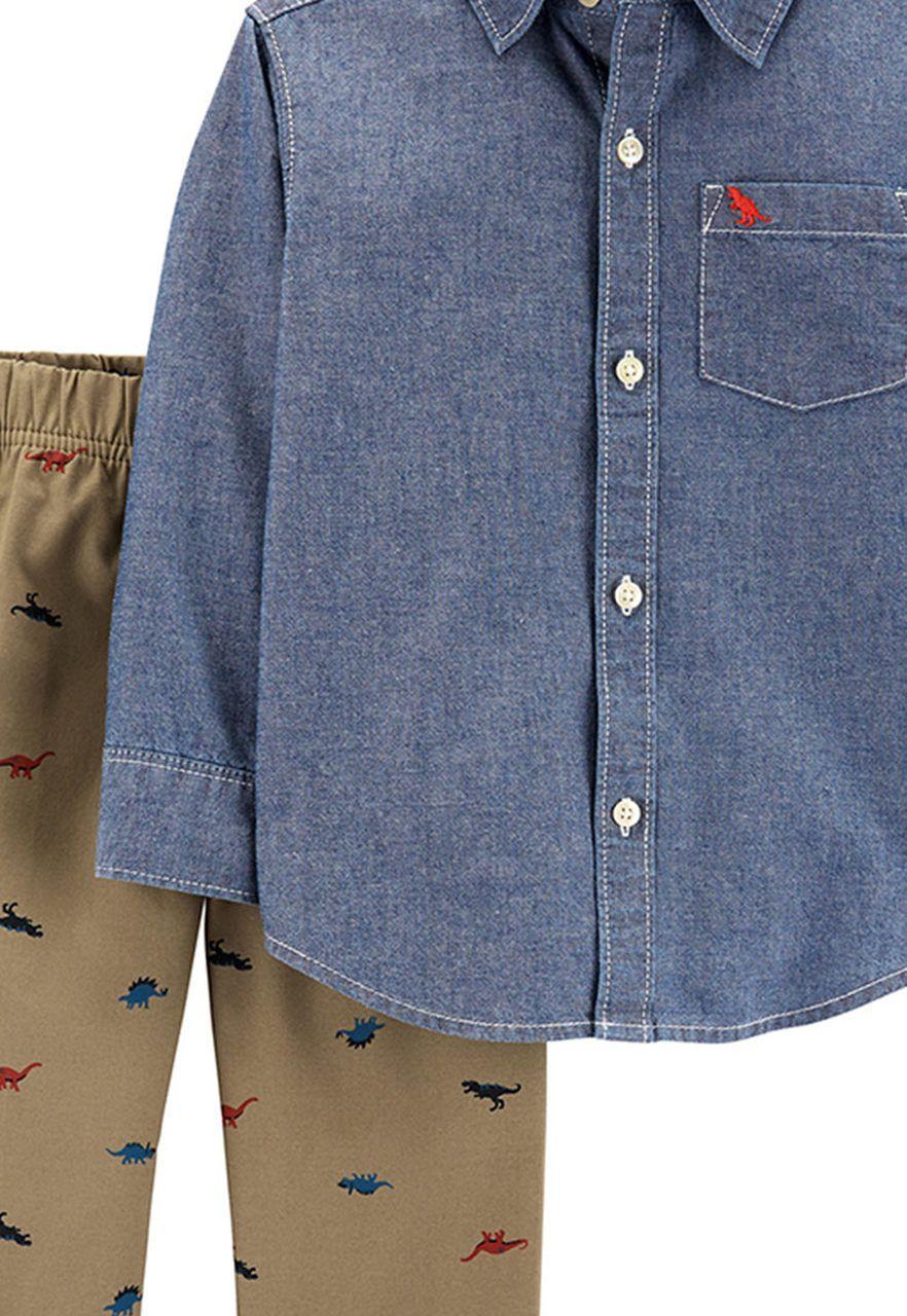 Conjunto Camisa jeans e calça dinos Carters