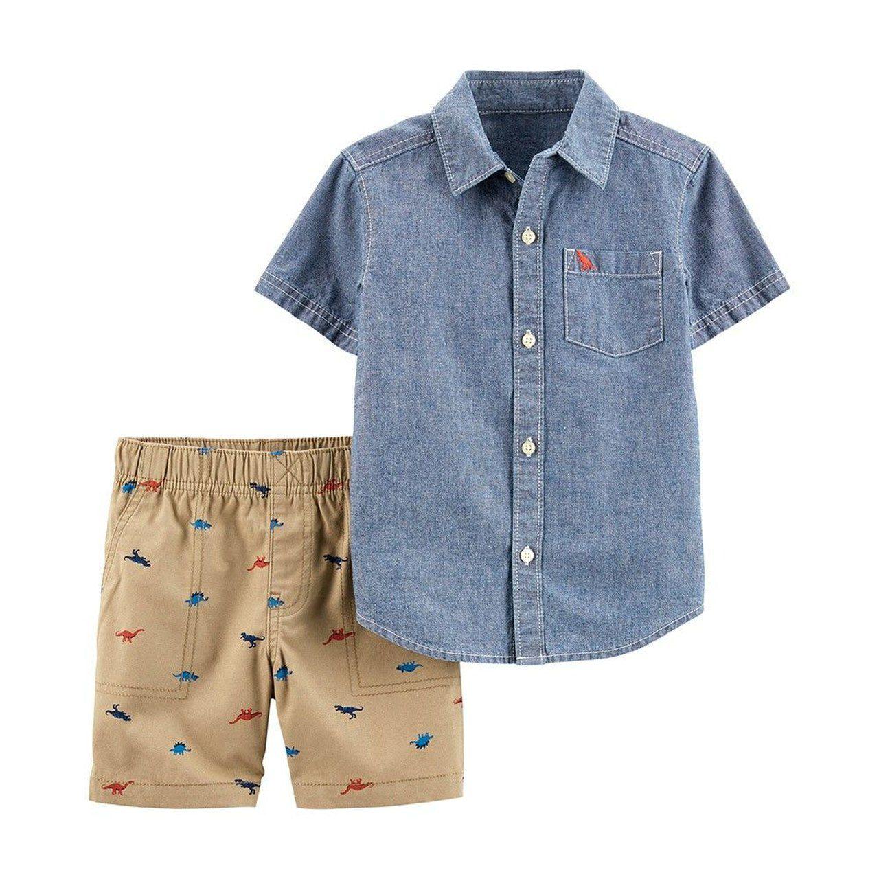 Conjunto Camisa jeans e Short dinos Carters
