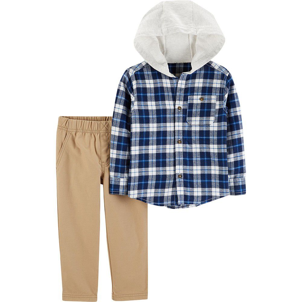 Conjunto Carter's Camisa Xadrez Capuz com Calça Cáqui