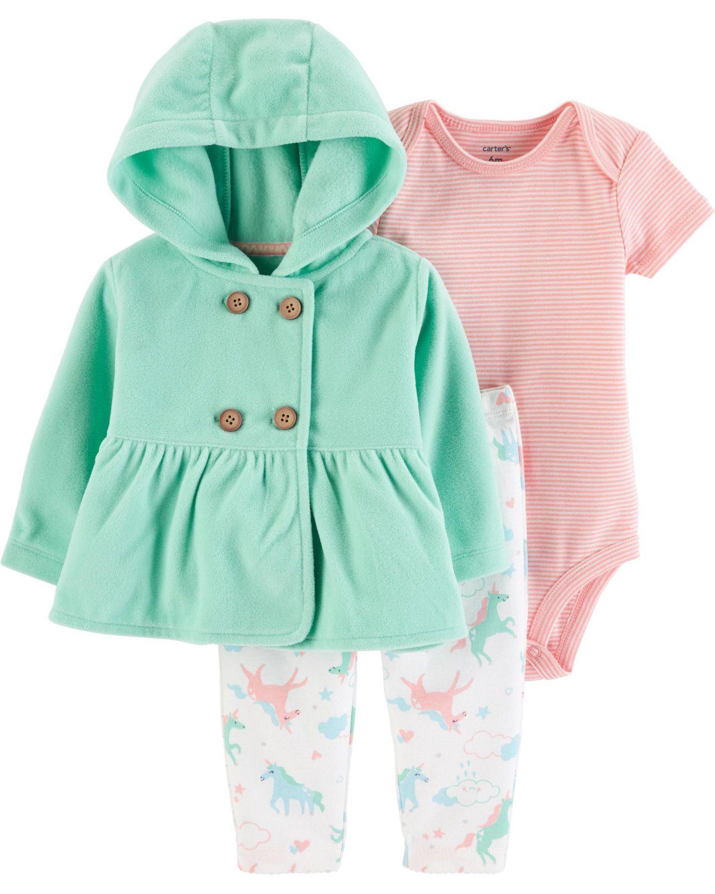 Conjunto Carter's Fleece Verde Girl Unicornio